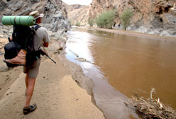 Kobus Albert surveys the Kuiseb Canyon